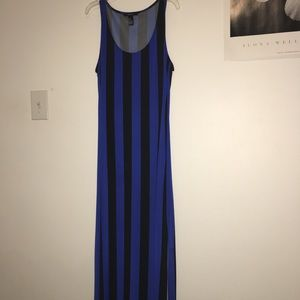 Electric blue and black vertical striped maxi.